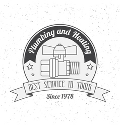 Vintage plumbing heating services logo labels and vector