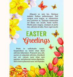 Easter poster greeting paschal eggs flowers vector