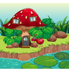 An ant near the red mushroom house vector