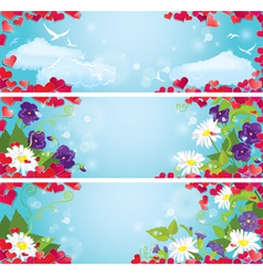 Set of valentines day horizontal banners vector