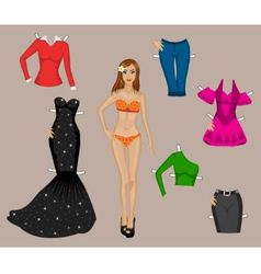 girl in a bathing suit with a set of different clo vector image
