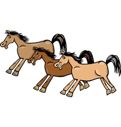 horses or mustangs cartoon vector image