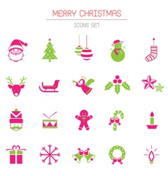 Christmas icons objects vector