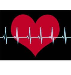 Red heart cardiogram on black vector