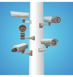 Surveillance camera on pillar vector
