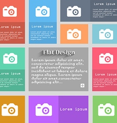 Photo camera icon sign set of multicolored buttons vector