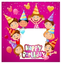 Birthday background with happy children vector