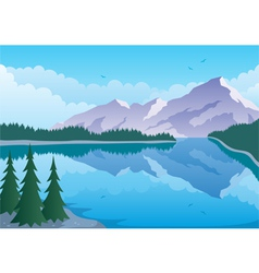 Mountain lake vector