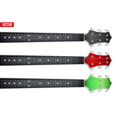 Set of guitar neck fretboard and headstock vector