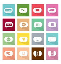 Collection of thought bubbles icons of online shop vector