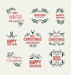 Set of christmas postcard decorative greetings vector