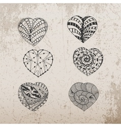 Hand drawn valentines day doodle hearts set vector