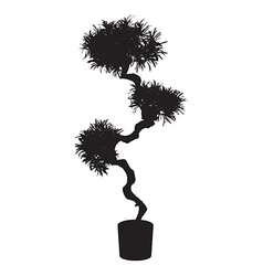 House and office tree bonsai silhouette vector
