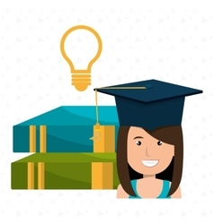 Graduate student with books and bulb isolated vector