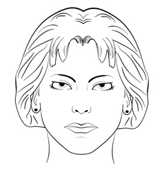Ink sketch head women face pattern vector