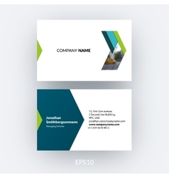 Business card template with abstract arrow in flat vector