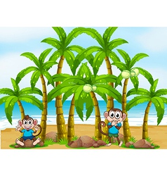 A beach with tall coconut trees and playful vector