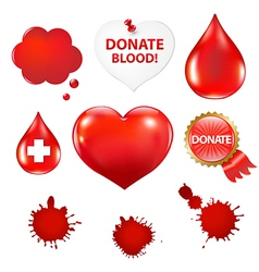 Big Set With Blood Drop And Heart vector image vector image