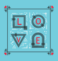 Black and red abstract love word frame emblem vector