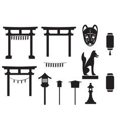 black silhouette traditional object in japan vector image