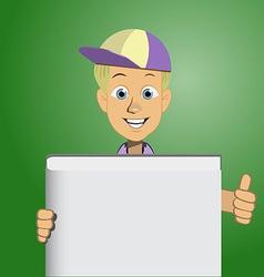 Boy holding a blank book vector image vector image
