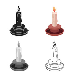 candle icon in cartoon style isolated on white vector image