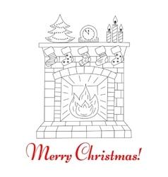 Christmas fireplace and socks vector