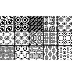 Collection of black and white seamless patterns vector
