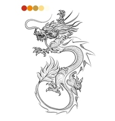 Coloring page with dragon vector