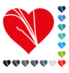 damaged love heart icon vector image