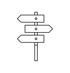 Direction signs icon outline style vector image
