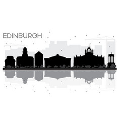 Edinburgh city skyline black and white silhouette vector