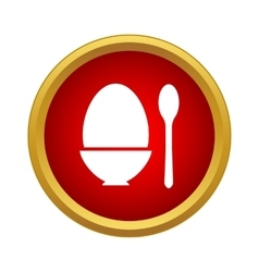 Egg cup and spoon icon simple style vector