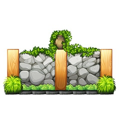 Fence made of bricks and wood vector