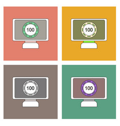 Flat icon design collection casino chip on screen vector