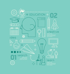 Flat linear Infographic Education Outline vector image vector image