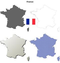 France outline map set vector