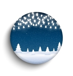 Garlands falling snow round glass frame vector