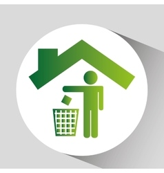 Green ecology symbol trash recycle design vector