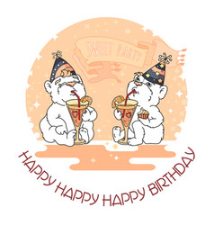 Happy birthday card with two cute bears in party vector
