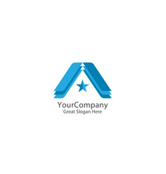 letter a logo with star sign logo icon template vector image