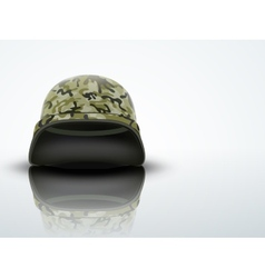 Light background military helmet with camo pattern vector
