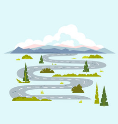 Long winding road to nature vector
