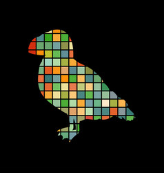 Puffin bird mosaic color silhouette animal vector