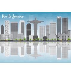 Rio de janeiro skyline with grey buildings vector