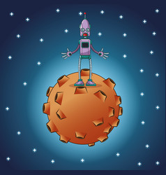 robot standing moon space vector image