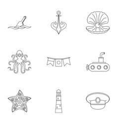 sailor icons set outline style vector image vector image
