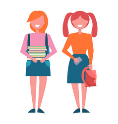 school girls with pile of books in hands rucksack vector image