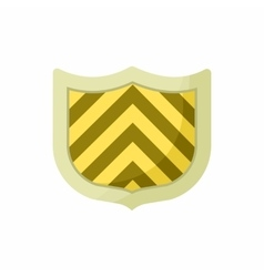 Striped shield icon cartoon style vector