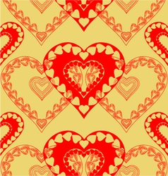 Valentines day red hearts seamless texture vector image vector image